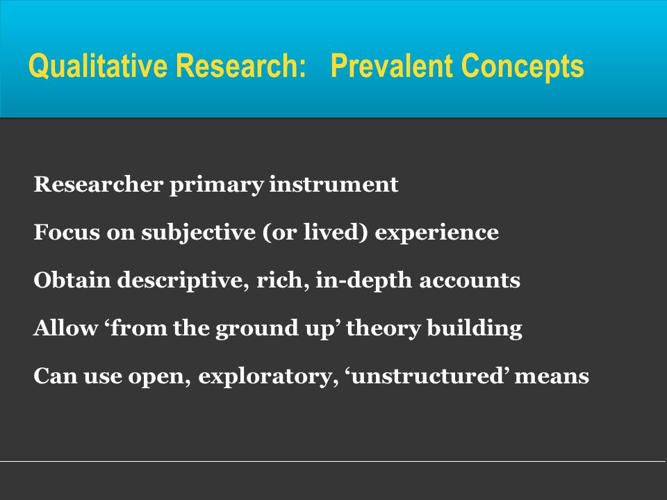 Qualitative Research: Prevalent Concepts Researcher primary instrument Focus on subjective (or lived) experience Obtain descriptive, rich, in-depth ac
