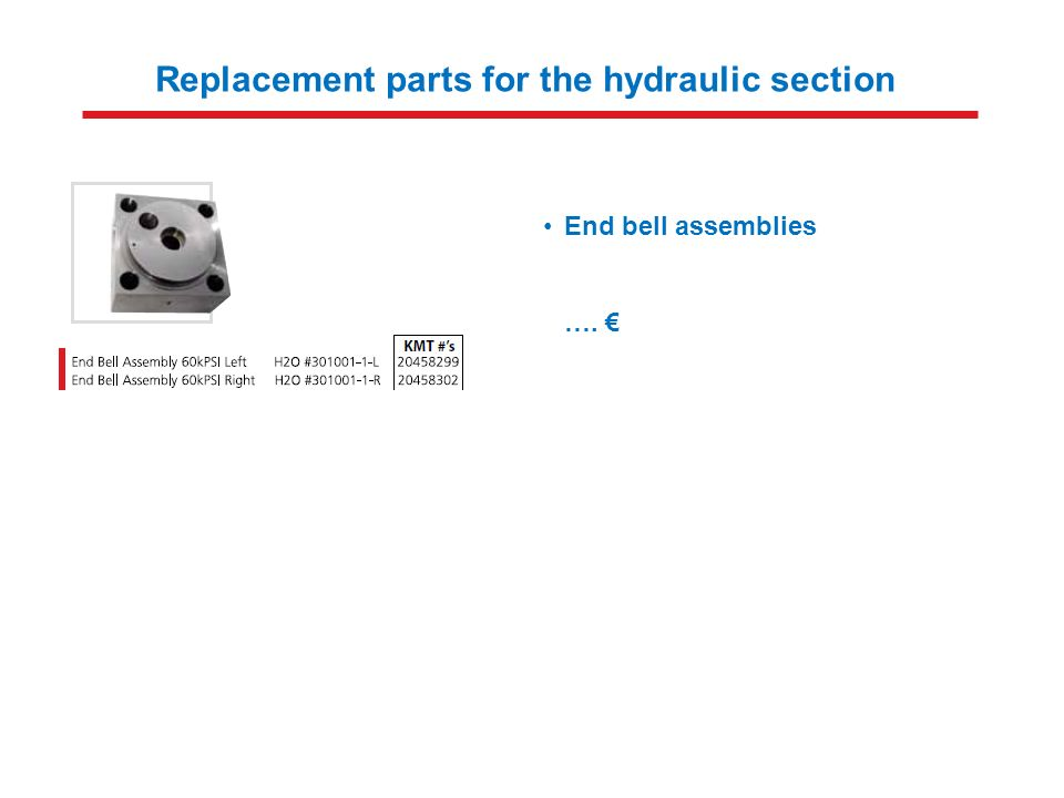 Replacement parts for the hydraulic section End bell assemblies ….