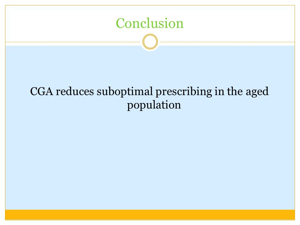 Conclusion CGA reduces suboptimal prescribing in the aged population
