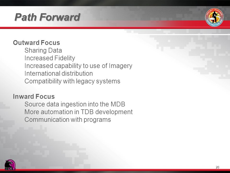 Path Forward 20 Outward Focus Sharing Data Increased Fidelity Increased capability to use of Imagery International distribution Compatibility with leg