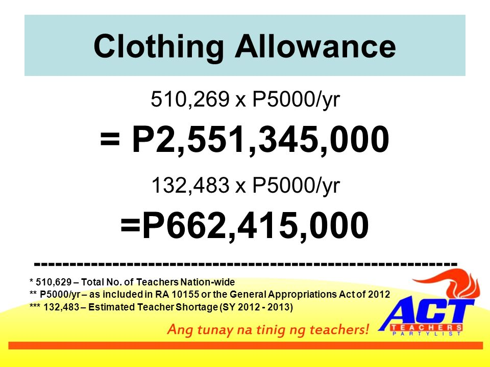 Clothing Allowance 510,269 x P5000/yr = P2,551,345, ,483 x P5000/yr =P662,415, * 510,629 – Total No.