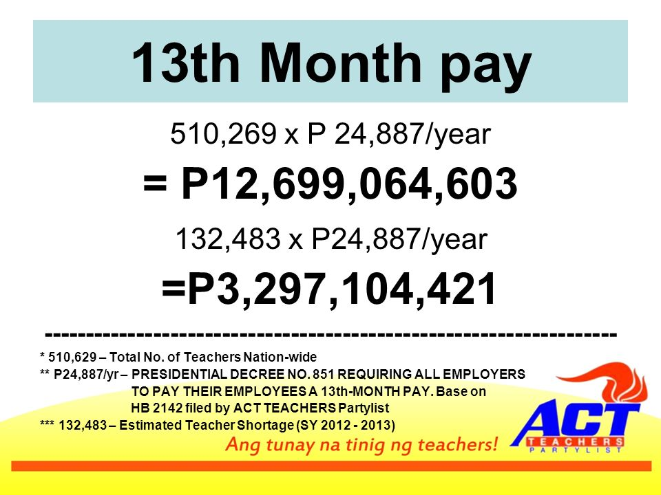 13th Month pay 510,269 x P 24,887/year = P12,699,064, ,483 x P24,887/year =P3,297,104, * 510,629 – Total No.