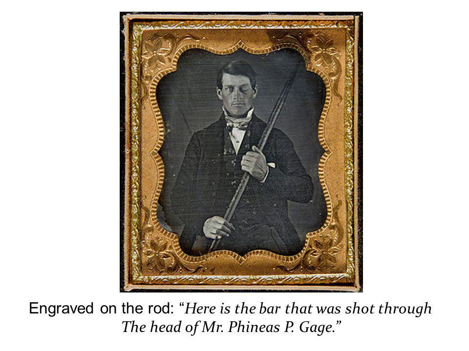 Engraved on the rod: Here is the bar that was shot through The head of Mr. Phineas P. Gage.