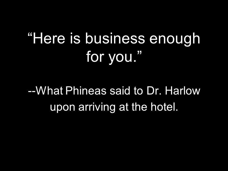 Here is business enough for you. --What Phineas said to Dr. Harlow upon arriving at the hotel.
