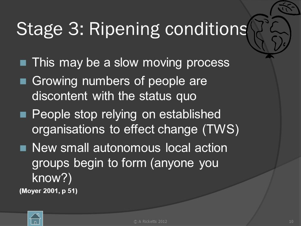 Stage 3: Ripening conditions This may be a slow moving process Growing numbers of people are discontent with the status quo People stop relying on established organisations to effect change (TWS) New small autonomous local action groups begin to form (anyone you know ) (Moyer 2001, p 51) © A Ricketts 201210