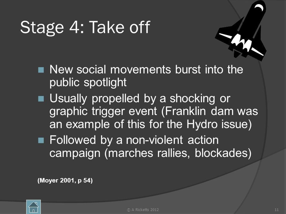 Stage 4: Take off New social movements burst into the public spotlight Usually propelled by a shocking or graphic trigger event (Franklin dam was an e