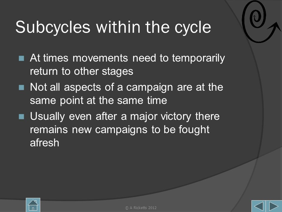 Subcycles within the cycle At times movements need to temporarily return to other stages Not all aspects of a campaign are at the same point at the same time Usually even after a major victory there remains new campaigns to be fought afresh © A Ricketts 201214