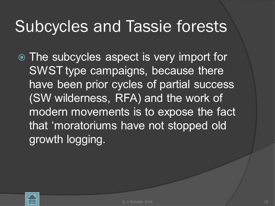 Subcycles and Tassie forests The subcycles aspect is very import for SWST type campaigns, because there have been prior cycles of partial success (SW wilderness, RFA) and the work of modern movements is to expose the fact that moratoriums have not stopped old growth logging.