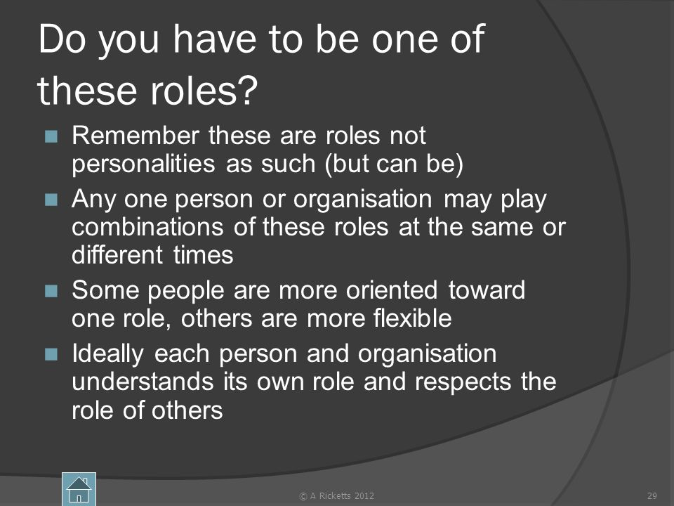 Do you have to be one of these roles? Remember these are roles not personalities as such (but can be) Any one person or organisation may play combinat