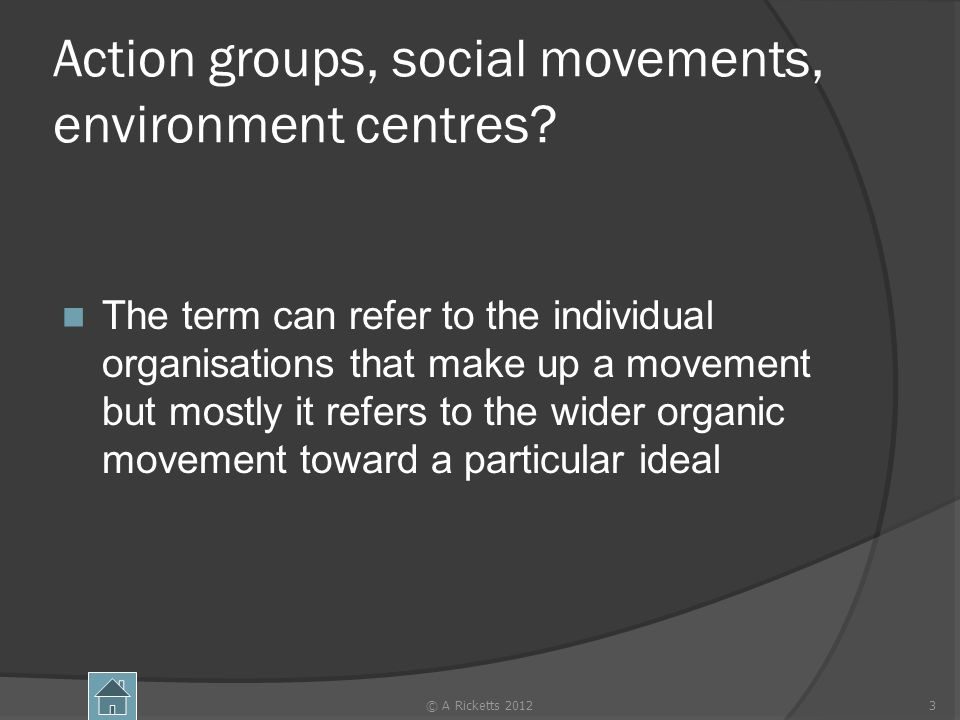Action groups, social movements, environment centres? The term can refer to the individual organisations that make up a movement but mostly it refers