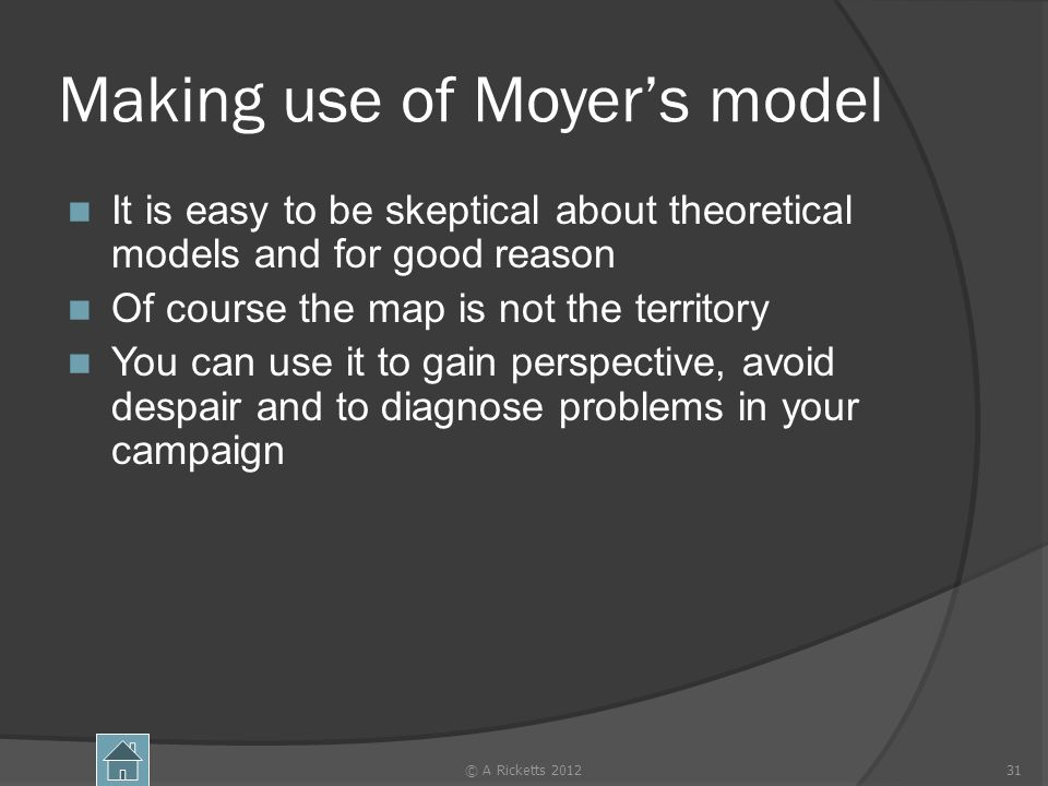 Making use of Moyers model It is easy to be skeptical about theoretical models and for good reason Of course the map is not the territory You can use it to gain perspective, avoid despair and to diagnose problems in your campaign © A Ricketts 201231