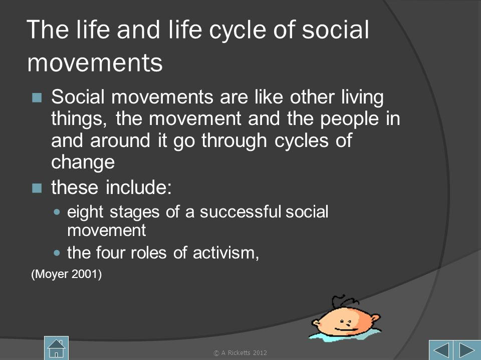 The life and life cycle of social movements Social movements are like other living things, the movement and the people in and around it go through cyc