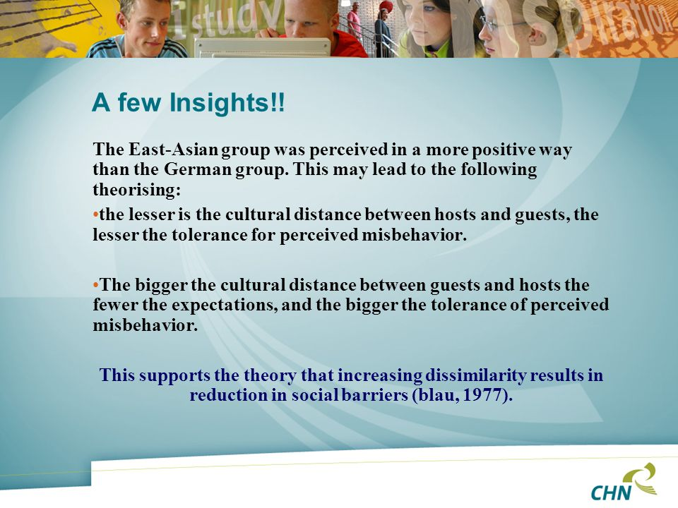 A few Insights!! The East-Asian group was perceived in a more positive way than the German group. This may lead to the following theorising: the lesse