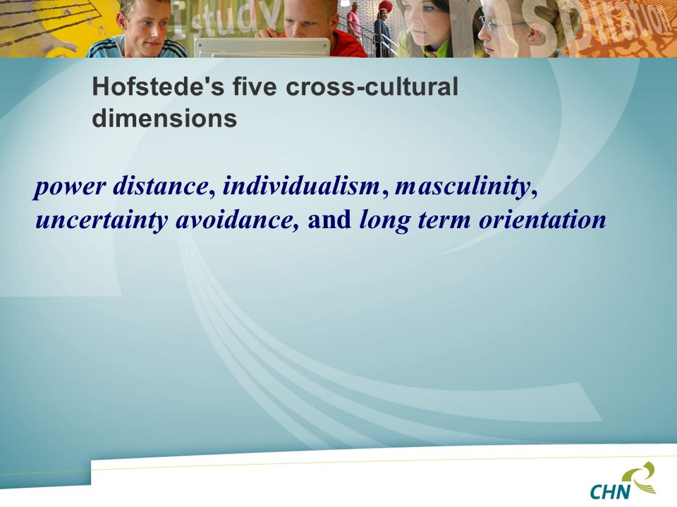 Hofstede's five cross-cultural dimensions power distance, individualism, masculinity, uncertainty avoidance, and long term orientation