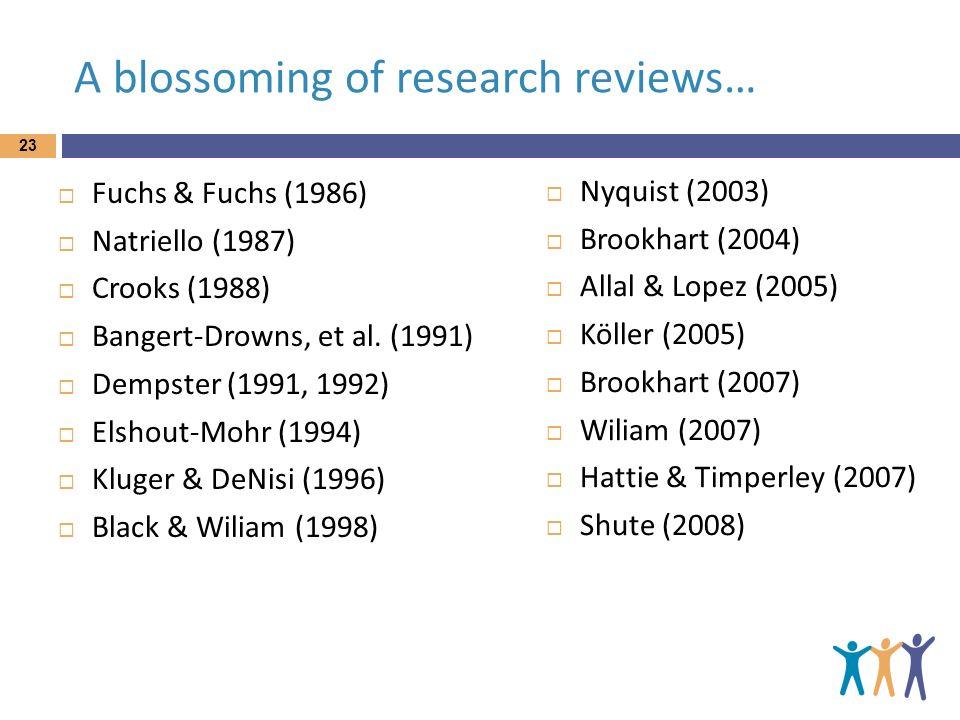 A blossoming of research reviews… Fuchs & Fuchs (1986) Natriello (1987) Crooks (1988) Bangert-Drowns, et al. (1991) Dempster (1991, 1992) Elshout-Mohr