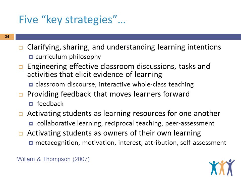Five key strategies… Clarifying, sharing, and understanding learning intentions curriculum philosophy Engineering effective classroom discussions, tas