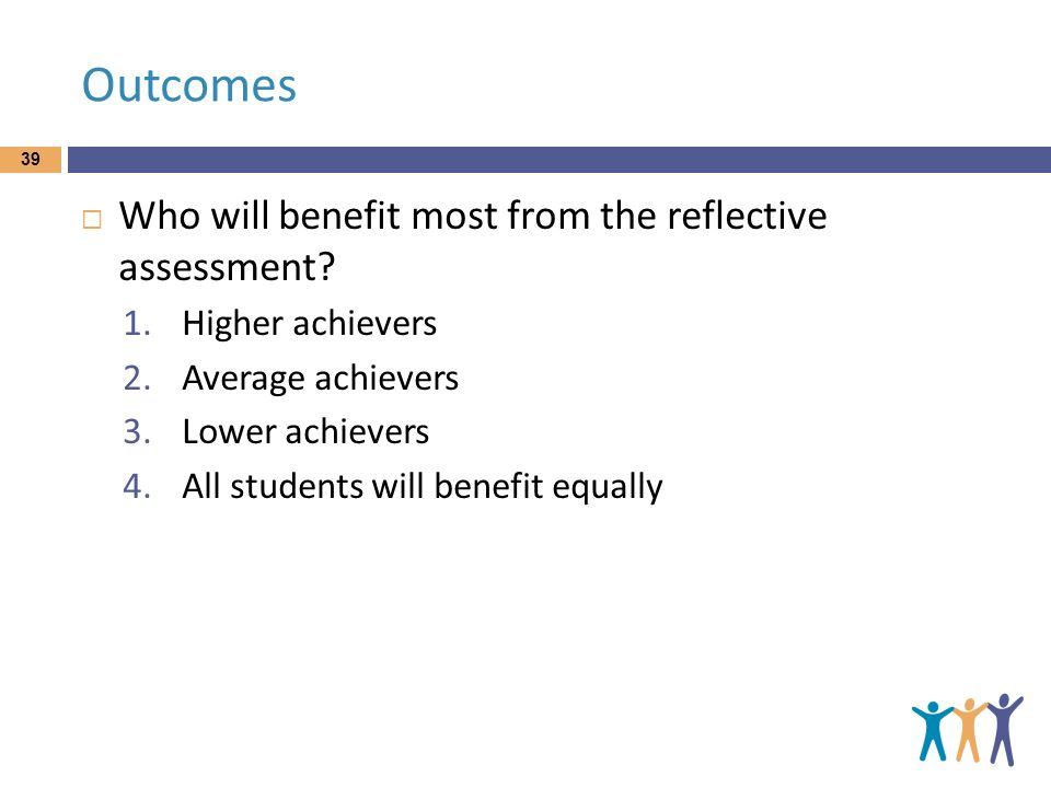 Outcomes Who will benefit most from the reflective assessment? 1.Higher achievers 2.Average achievers 3.Lower achievers 4.All students will benefit eq