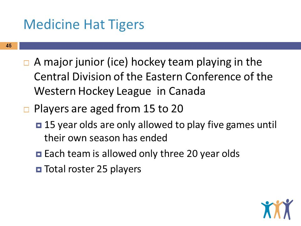 Medicine Hat Tigers A major junior (ice) hockey team playing in the Central Division of the Eastern Conference of the Western Hockey League in Canada