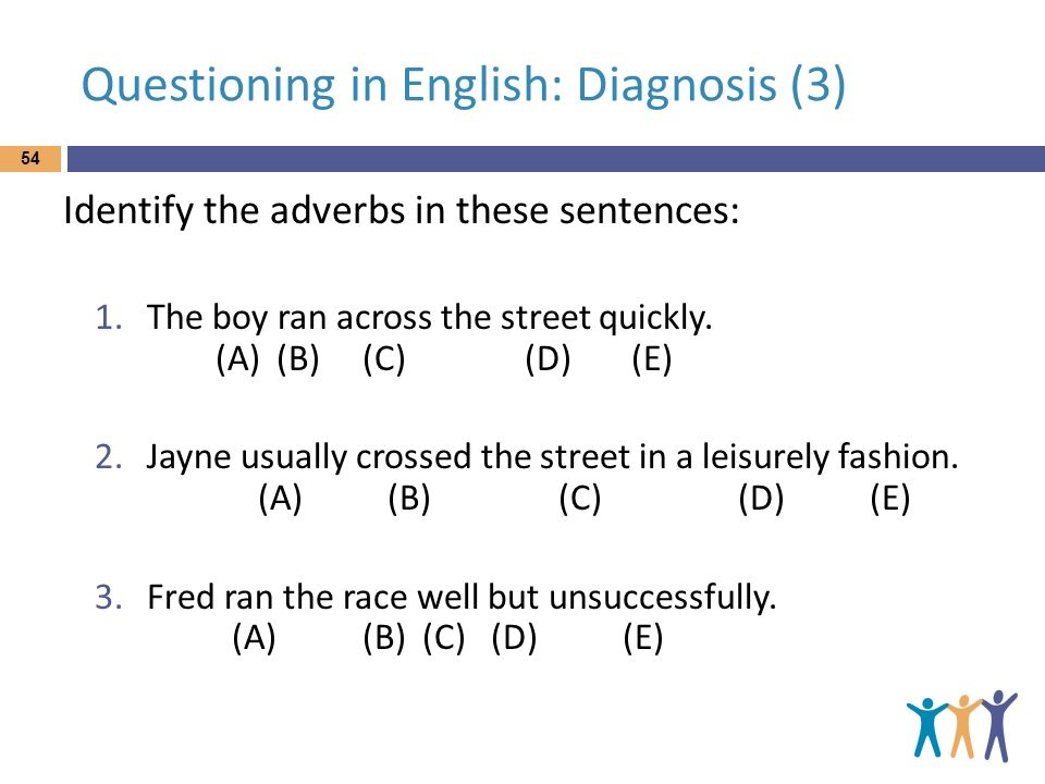 Questioning in English: Diagnosis (3) Identify the adverbs in these sentences: 1.The boy ran across the street quickly. (A) (B) (C) (D) (E) 2.Jayne us
