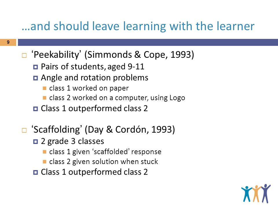 …and should leave learning with the learner Peekability (Simmonds & Cope, 1993) Pairs of students, aged 9-11 Angle and rotation problems class 1 worke