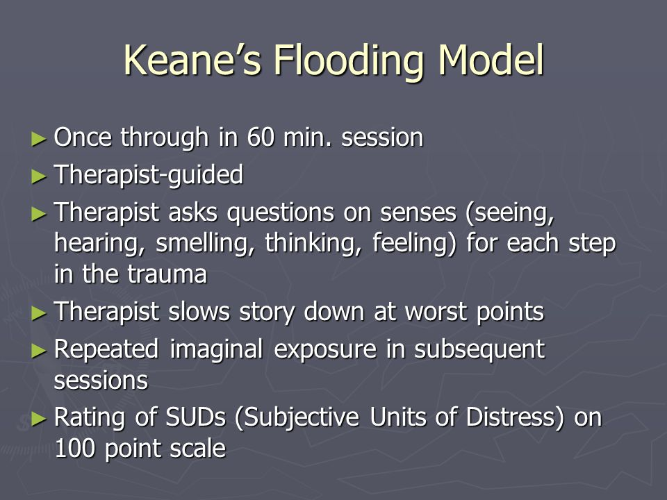 Keanes Flooding Model Once through in 60 min. session Once through in 60 min. session Therapist-guided Therapist-guided Therapist asks questions on se