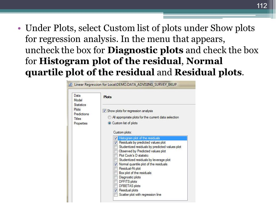 Under Plots, select Custom list of plots under Show plots for regression analysis. In the menu that appears, uncheck the box for Diagnostic plots and
