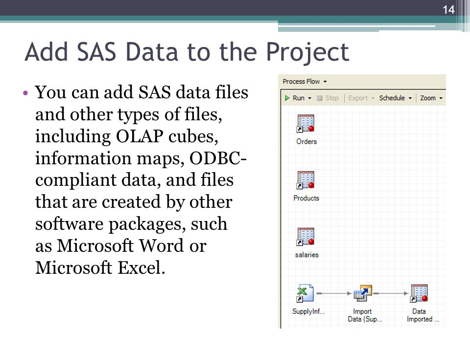 Add SAS Data to the Project You can add SAS data files and other types of files, including OLAP cubes, information maps, ODBC- compliant data, and fil
