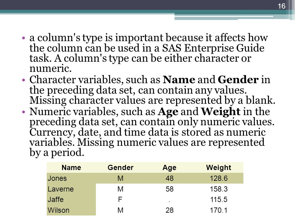 a column's type is important because it affects how the column can be used in a SAS Enterprise Guide task. A column's type can be either character or