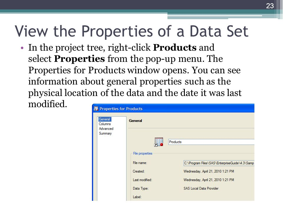 View the Properties of a Data Set In the project tree, right-click Products and select Properties from the pop-up menu. The Properties for Products wi