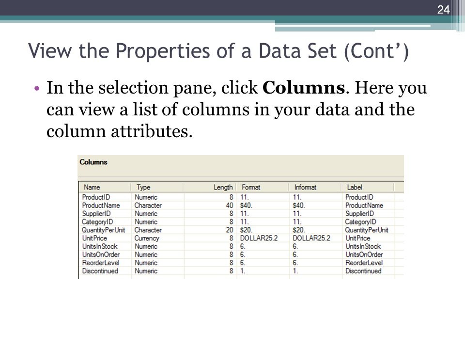 View the Properties of a Data Set (Cont) In the selection pane, click Columns. Here you can view a list of columns in your data and the column attribu
