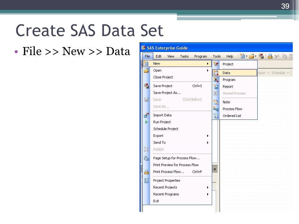 Create SAS Data Set File >> New >> Data 39