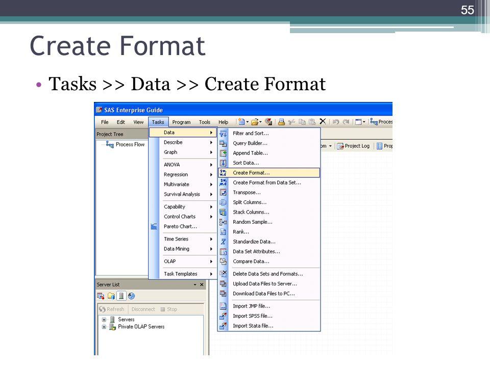 Create Format Tasks >> Data >> Create Format 55