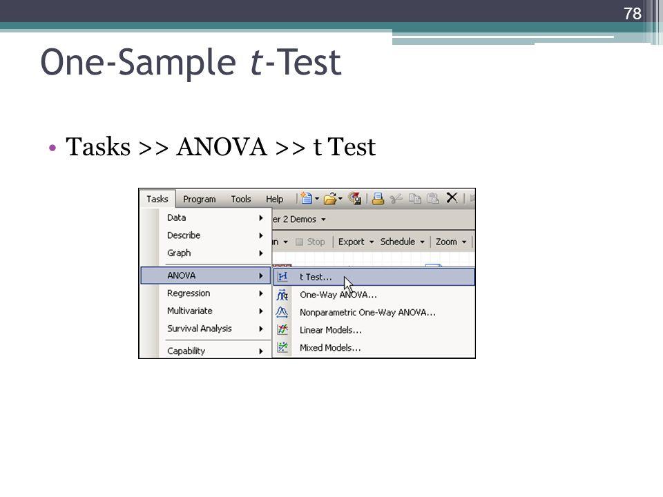 One-Sample t-Test Tasks >> ANOVA >> t Test 78