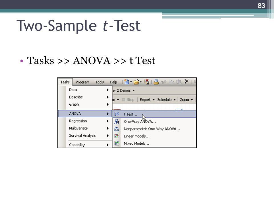 Two-Sample t-Test Tasks >> ANOVA >> t Test 83