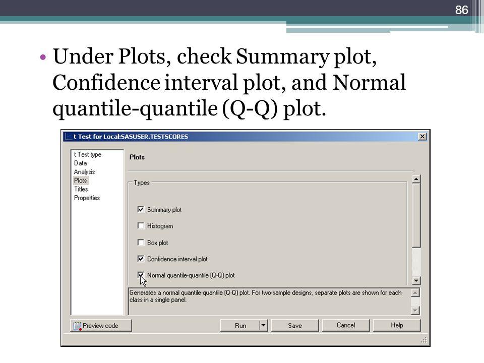 Under Plots, check Summary plot, Confidence interval plot, and Normal quantile-quantile (Q-Q) plot. 86