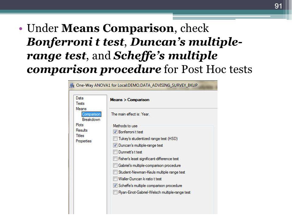 Under Means Comparison, check Bonferroni t test, Duncans multiple- range test, and Scheffes multiple comparison procedure for Post Hoc tests 91