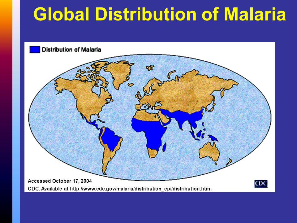 Global Distribution of Malaria Accessed October 17, 2004 CDC. Available at http://www.cdc.gov/malaria/distribution_epi/distribution.htm.
