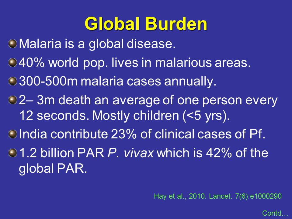 Malaria is a global disease. 40% world pop. lives in malarious areas. 300-500m malaria cases annually. 2– 3m death an average of one person every 12 s