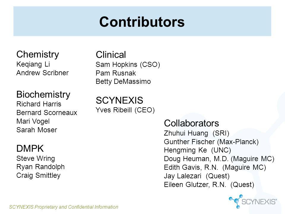 SCYNEXIS Proprietary and Confidential Information Contributors Chemistry Keqiang Li Andrew Scribner Biochemistry Richard Harris Bernard Scorneaux Mari