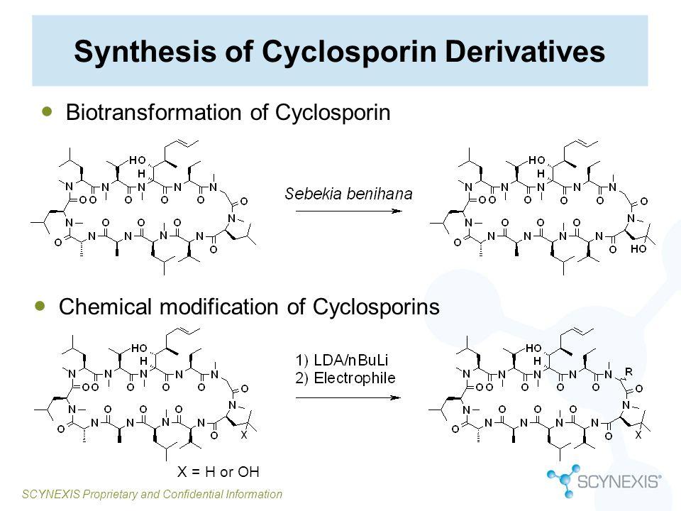 SCYNEXIS Proprietary and Confidential Information Synthesis of Cyclosporin Derivatives Biotransformation of Cyclosporin Chemical modification of Cyclo