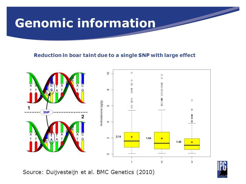 Genomic information Reduction in boar taint due to a single SNP with large effect Source: Duijvesteijn et al. BMC Genetics (2010)