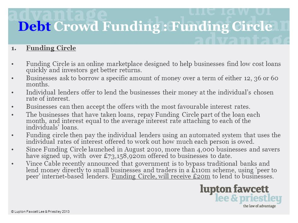 Debt Crowd Funding : Funding Circle 1.Funding Circle Funding Circle is an online marketplace designed to help businesses find low cost loans quickly a