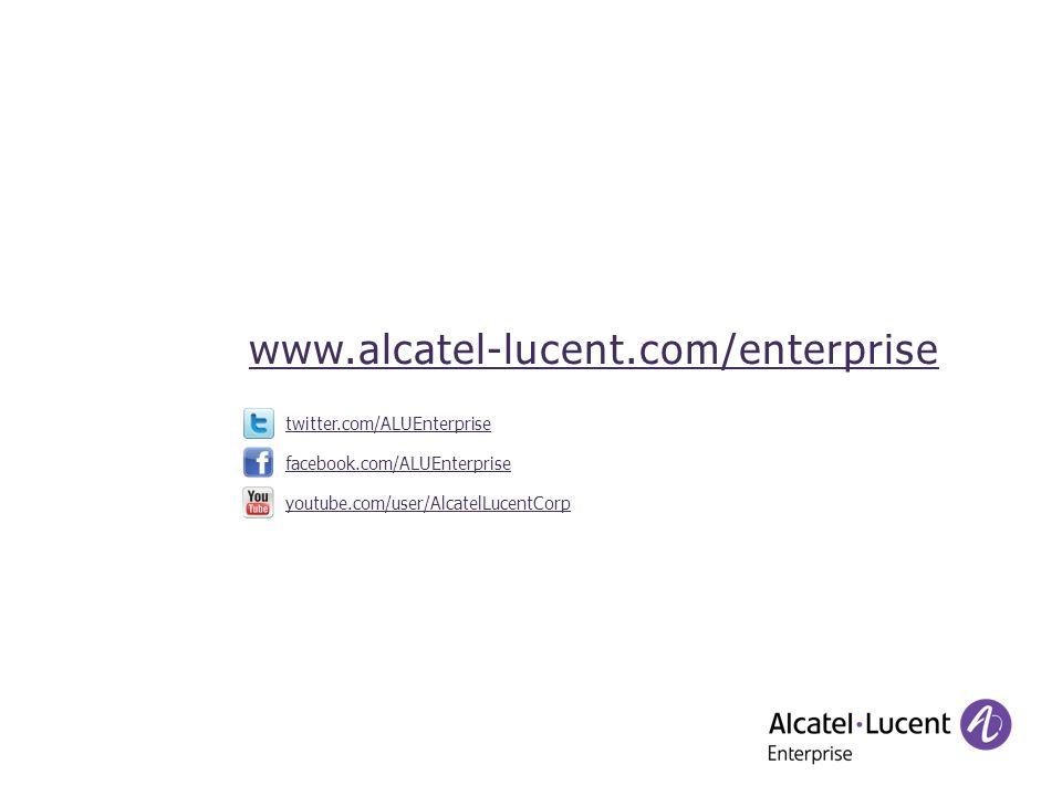 facebook.com/ALUEnterprise twitter.com/ALUEnterprise youtube.com/user/AlcatelLucentCorp www.alcatel-lucent.com/enterprise