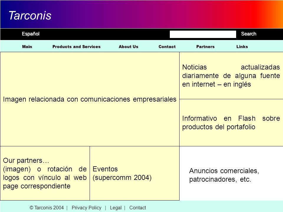 EspañolSearch Tarconis Main About Us Products and Services Contact © Tarconis 2004 | Privacy Policy | Legal | Contact Imagen relacionada con comunicac