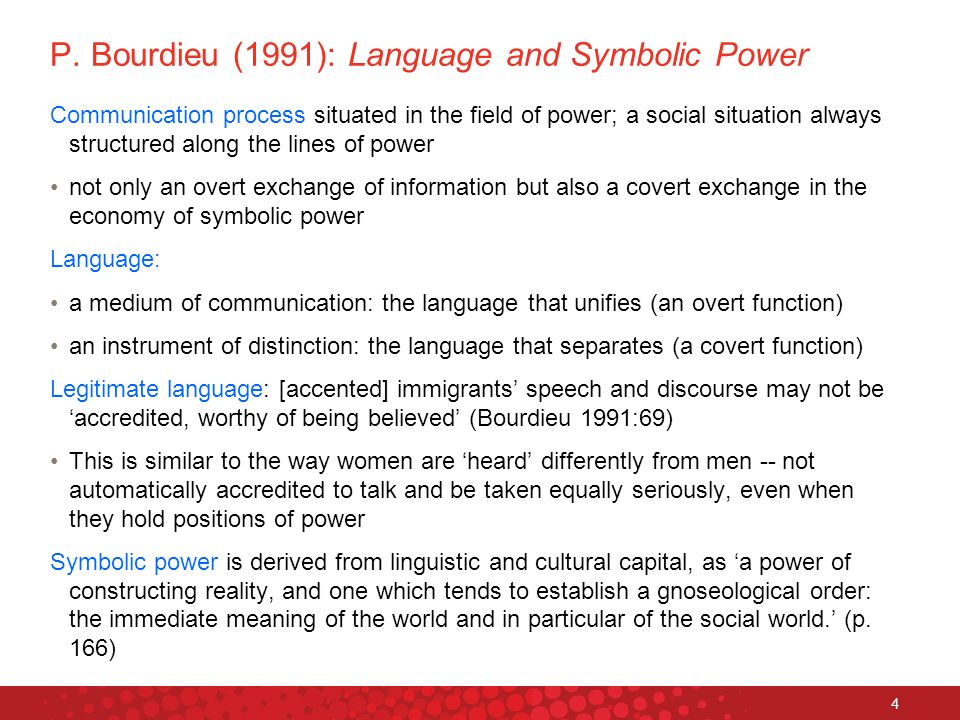 4 P. Bourdieu (1991): Language and Symbolic Power Communication process situated in the field of power; a social situation always structured along the
