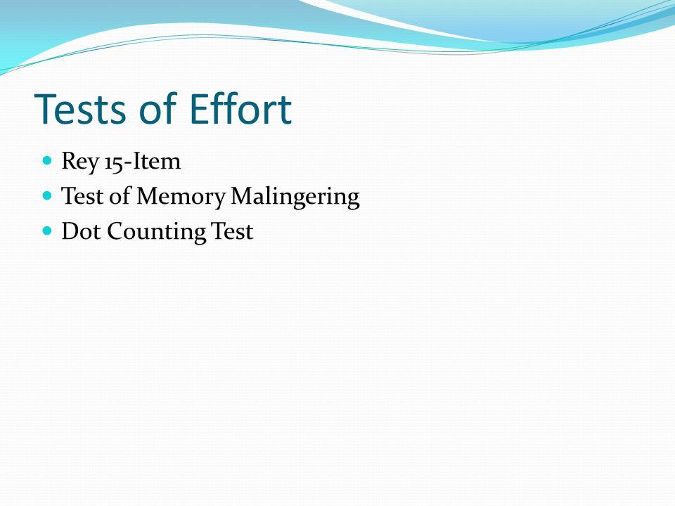 Tests of Effort Rey 15-Item Test of Memory Malingering Dot Counting Test
