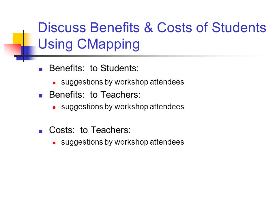 Discuss Benefits & Costs of Students Using CMapping Benefits: to Students: suggestions by workshop attendees Benefits: to Teachers: suggestions by wor