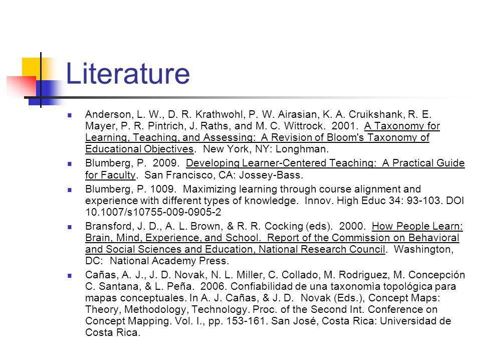 Literature Anderson, L. W., D. R. Krathwohl, P. W. Airasian, K. A. Cruikshank, R. E. Mayer, P. R. Pintrich, J. Raths, and M. C. Wittrock. 2001. A Taxo