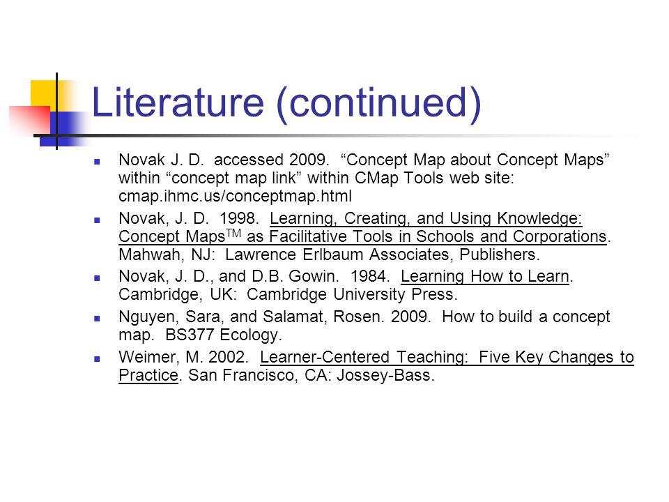 Literature (continued) Novak J. D. accessed 2009. Concept Map about Concept Maps within concept map link within CMap Tools web site: cmap.ihmc.us/conc