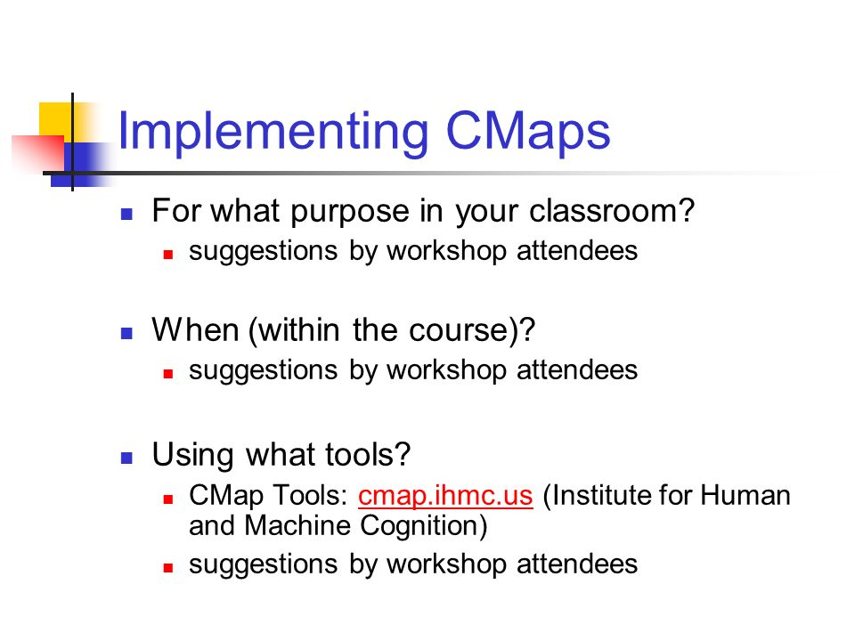 Implementing CMaps For what purpose in your classroom? suggestions by workshop attendees When (within the course)? suggestions by workshop attendees U